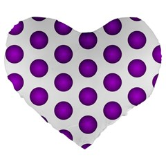 Purple And White Polka Dots 19  Premium Heart Shape Cushion by Colorfulart23