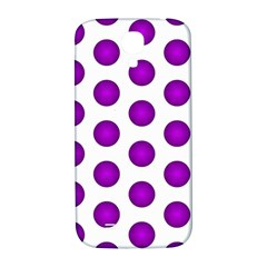Purple And White Polka Dots Samsung Galaxy S4 I9500/i9505  Hardshell Back Case by Colorfulart23
