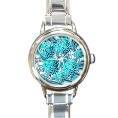 Teal Sea Forest, Abstract Underwater Ocean Round Italian Charm Watch by DianeClancy