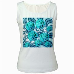 Teal Sea Forest, Abstract Underwater Ocean Women s Tank Top (white) by DianeClancy