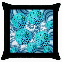 Teal Sea Forest, Abstract Underwater Ocean Black Throw Pillow Case