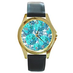 Teal Sea Forest, Abstract Underwater Ocean Round Leather Watch (gold Rim)  by DianeClancy