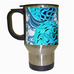 Teal Sea Forest, Abstract Underwater Ocean Travel Mug (white) by DianeClancy
