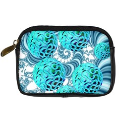 Teal Sea Forest, Abstract Underwater Ocean Digital Camera Leather Case by DianeClancy