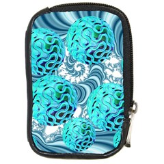 Teal Sea Forest, Abstract Underwater Ocean Compact Camera Leather Case by DianeClancy