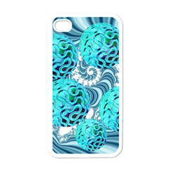 Teal Sea Forest, Abstract Underwater Ocean Apple Iphone 4 Case (white)