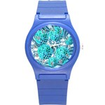 Teal Sea Forest, Abstract Underwater Ocean Plastic Sport Watch (Small) Front
