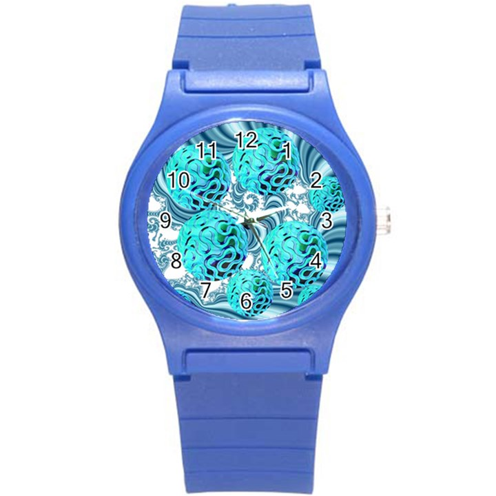 Teal Sea Forest, Abstract Underwater Ocean Plastic Sport Watch (Small)