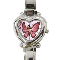 Butterfly Girl Heart Italian Charm Watch