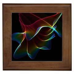 Imagine, Through The Abstract Rainbow Veil Framed Ceramic Tile by DianeClancy