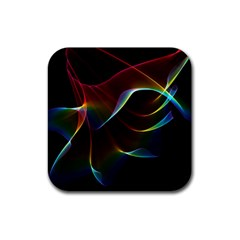 Imagine, Through The Abstract Rainbow Veil Drink Coaster (square) by DianeClancy