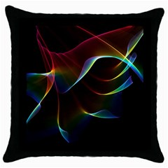 Imagine, Through The Abstract Rainbow Veil Black Throw Pillow Case by DianeClancy