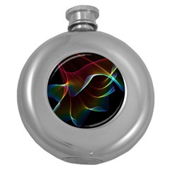 Imagine, Through The Abstract Rainbow Veil Hip Flask (round)