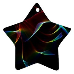 Imagine, Through The Abstract Rainbow Veil Star Ornament (two Sides) by DianeClancy