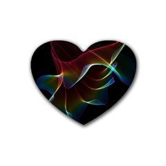 Imagine, Through The Abstract Rainbow Veil Drink Coasters (heart) by DianeClancy