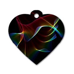 Imagine, Through The Abstract Rainbow Veil Dog Tag Heart (two Sided) by DianeClancy