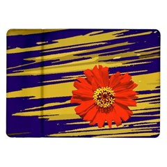 Red Flower Samsung Galaxy Tab 10 1  P7500 Flip Case by Rbrendes
