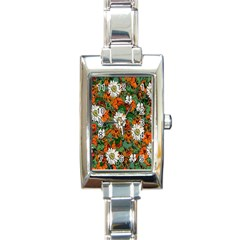 Flowers Rectangular Italian Charm Watch by Rbrendes