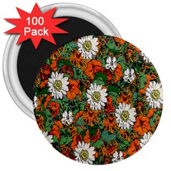 Flowers 3  Button Magnet (100 Pack)