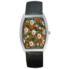 Flowers Tonneau Leather Watch