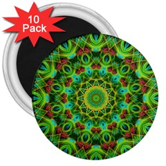Peacock Feathers Mandala 3  Button Magnet (10 Pack) by Zandiepants