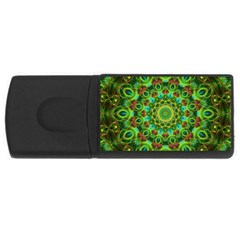 Peacock Feathers Mandala 4gb Usb Flash Drive (rectangle) by Zandiepants