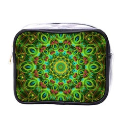 Peacock Feathers Mandala Mini Travel Toiletry Bag (one Side) by Zandiepants