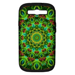 Peacock Feathers Mandala Samsung Galaxy S Iii Hardshell Case (pc+silicone) by Zandiepants