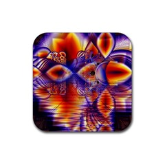 Winter Crystal Palace, Abstract Cosmic Dream Rubber Coaster (square)