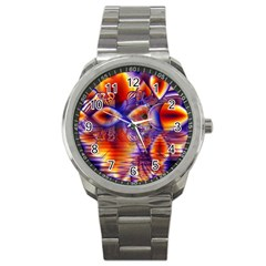 Winter Crystal Palace, Abstract Cosmic Dream Sport Metal Watch by DianeClancy