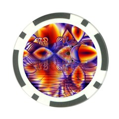 Winter Crystal Palace, Abstract Cosmic Dream Poker Chip Card Guard by DianeClancy