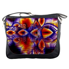 Winter Crystal Palace, Abstract Cosmic Dream Messenger Bag by DianeClancy