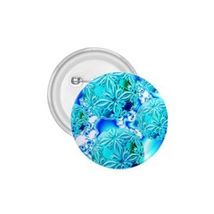 Blue Ice Crystals, Abstract Aqua Azure Cyan 1 75  Button by DianeClancy