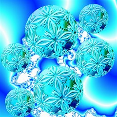 Blue Ice Crystals, Abstract Aqua Azure Cyan Canvas 16  X 16  by DianeClancy