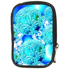 Blue Ice Crystals, Abstract Aqua Azure Cyan Compact Camera Leather Case