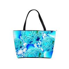 Blue Ice Crystals, Abstract Aqua Azure Cyan Classic Shoulder Handbag by DianeClancy