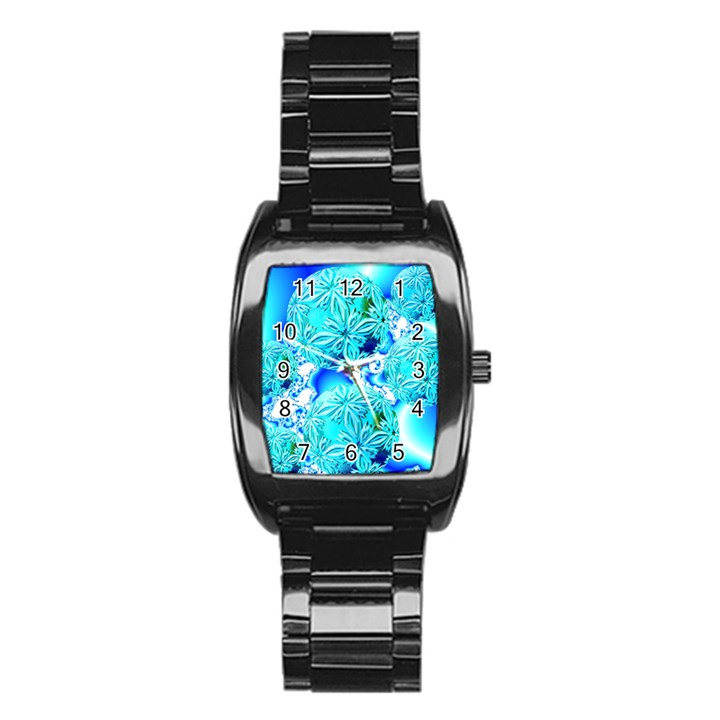 Blue Ice Crystals, Abstract Aqua Azure Cyan Men s Stainless Steel Barrel Analog Watch