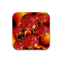 Flame Delights, Abstract Red Orange Drink Coaster (square) by DianeClancy