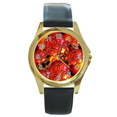 Flame Delights, Abstract Red Orange Round Leather Watch (gold Rim)  by DianeClancy