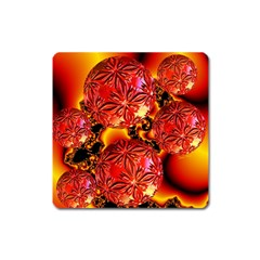 Flame Delights, Abstract Red Orange Magnet (square) by DianeClancy