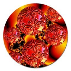 Flame Delights, Abstract Red Orange Magnet 5  (round) by DianeClancy