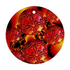 Flame Delights, Abstract Red Orange Round Ornament (two Sides) by DianeClancy