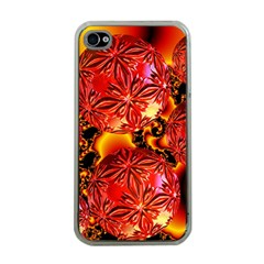 Flame Delights, Abstract Red Orange Apple Iphone 4 Case (clear) by DianeClancy