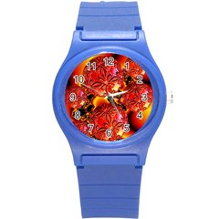 Flame Delights, Abstract Red Orange Plastic Sport Watch (small) by DianeClancy