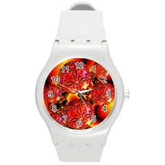 Flame Delights, Abstract Red Orange Plastic Sport Watch (medium) by DianeClancy