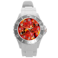 Flame Delights, Abstract Red Orange Plastic Sport Watch (large) by DianeClancy