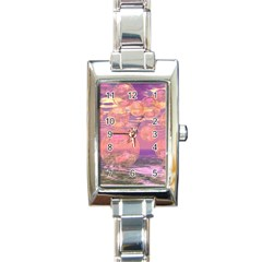 Glorious Skies, Abstract Pink And Yellow Dream Rectangular Italian Charm Watch by DianeClancy