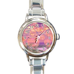 Glorious Skies, Abstract Pink And Yellow Dream Round Italian Charm Watch by DianeClancy