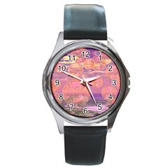Glorious Skies, Abstract Pink And Yellow Dream Round Leather Watch (silver Rim) by DianeClancy