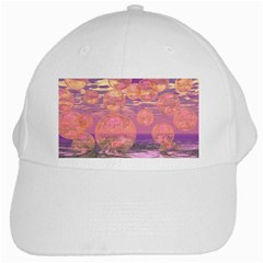 Glorious Skies, Abstract Pink And Yellow Dream White Baseball Cap by DianeClancy